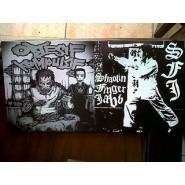"OBSESIF KOMPULSIF / SHAOLIN FINGER JABB. Split 7"" Riotous Outburst Records 015"